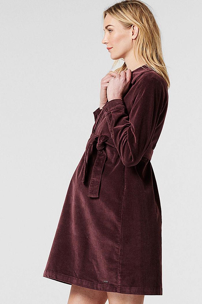 Sztruksowa sukienka dla matek karmiących z bawełny, COFFEE, detail image number 3