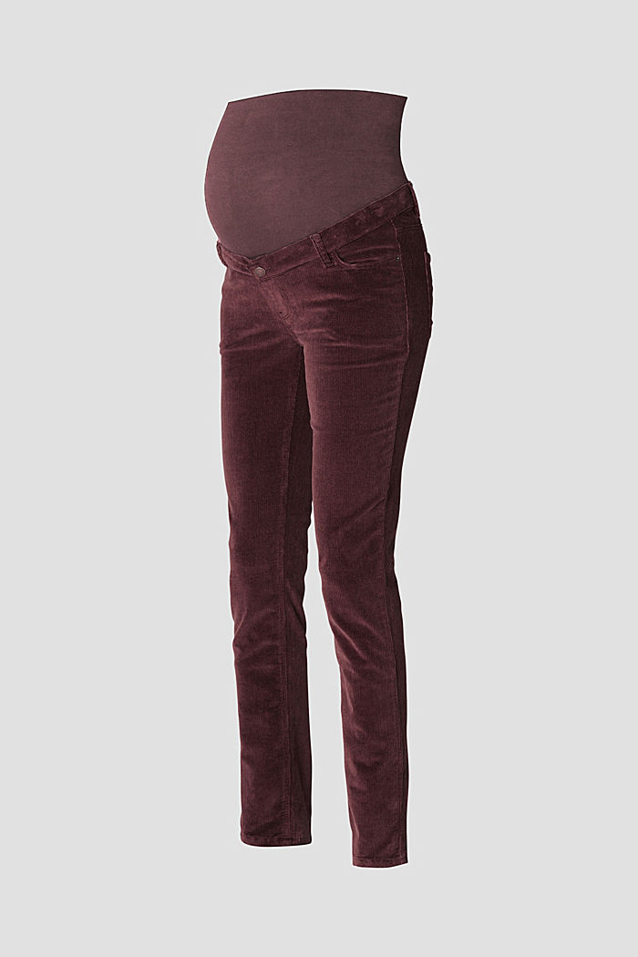Stretch cotton corduroy trousers with over-bump waistband