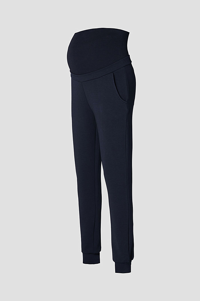 Trousers in compact sweatshirt fabric with over-bump waistband