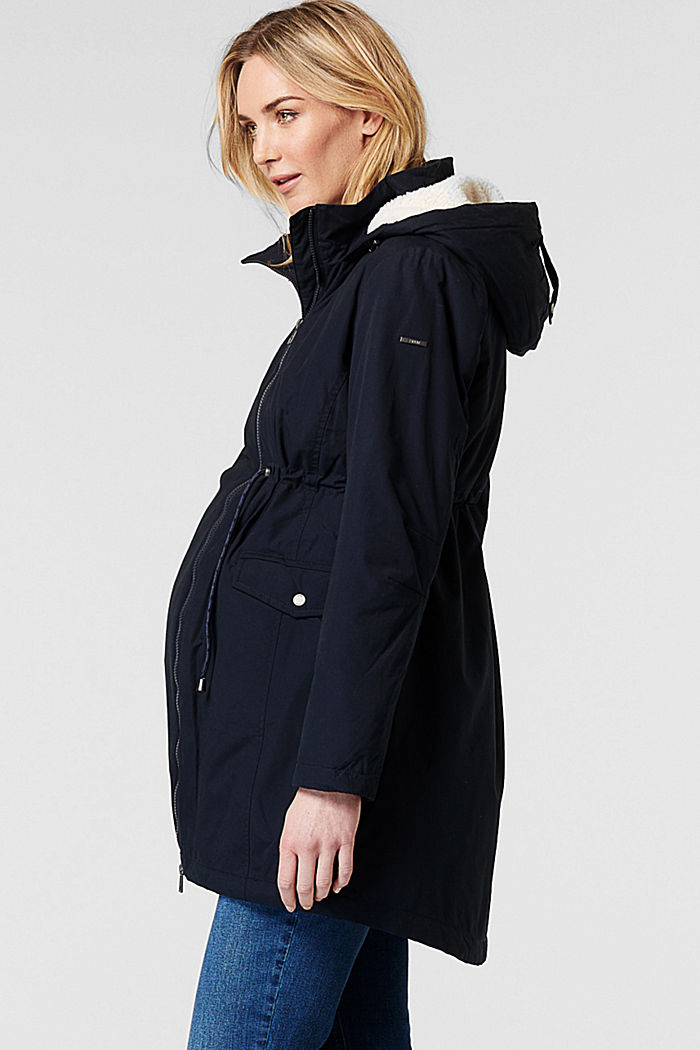 Parka met voering met shearling-look, op 3 manieren te dragen, NIGHT SKY BLUE, detail image number 4
