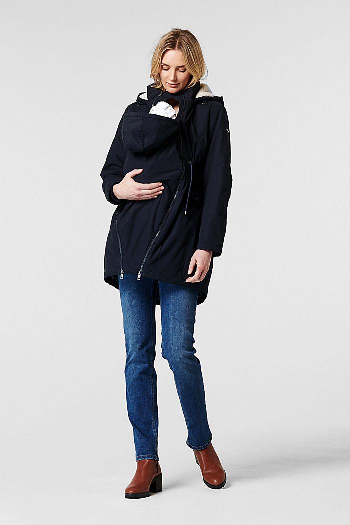 Parka met voering met shearling-look, op 3 manieren te dragen, NIGHT SKY BLUE, detail image number 1