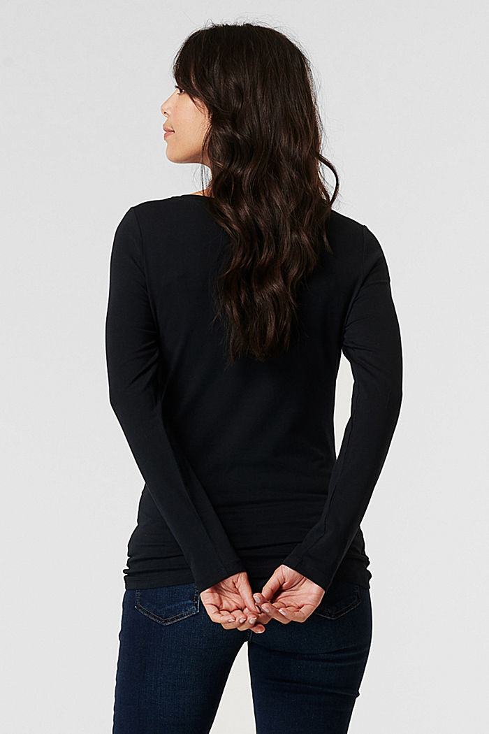 Long sleeve top with a print made of organic cotton, BLACK, detail image number 1