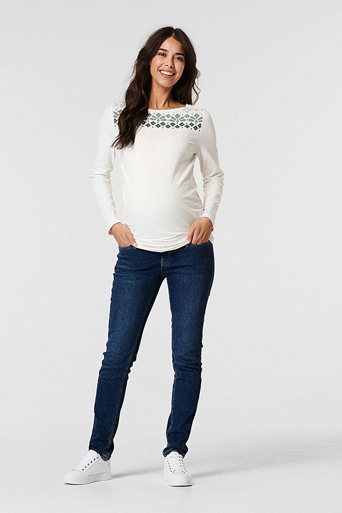 T-shirt à manches longues et imprimé en coton biologique, OFF WHITE, detail image number 0