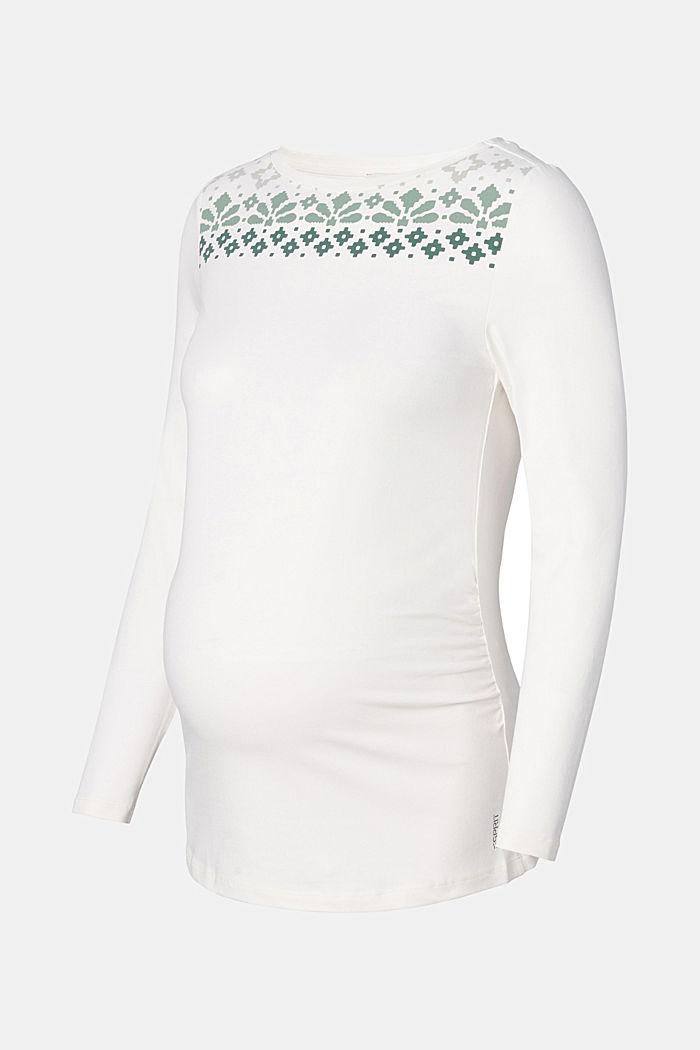 T-shirt à manches longues et imprimé en coton biologique, OFF WHITE, detail image number 2