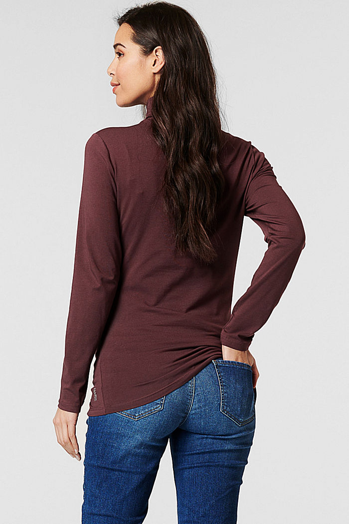 Polo neck long sleeve top made of organic cotton, COFFEE, detail image number 1