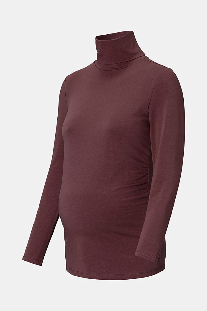 Polo neck long sleeve top made of organic cotton, COFFEE, detail image number 4