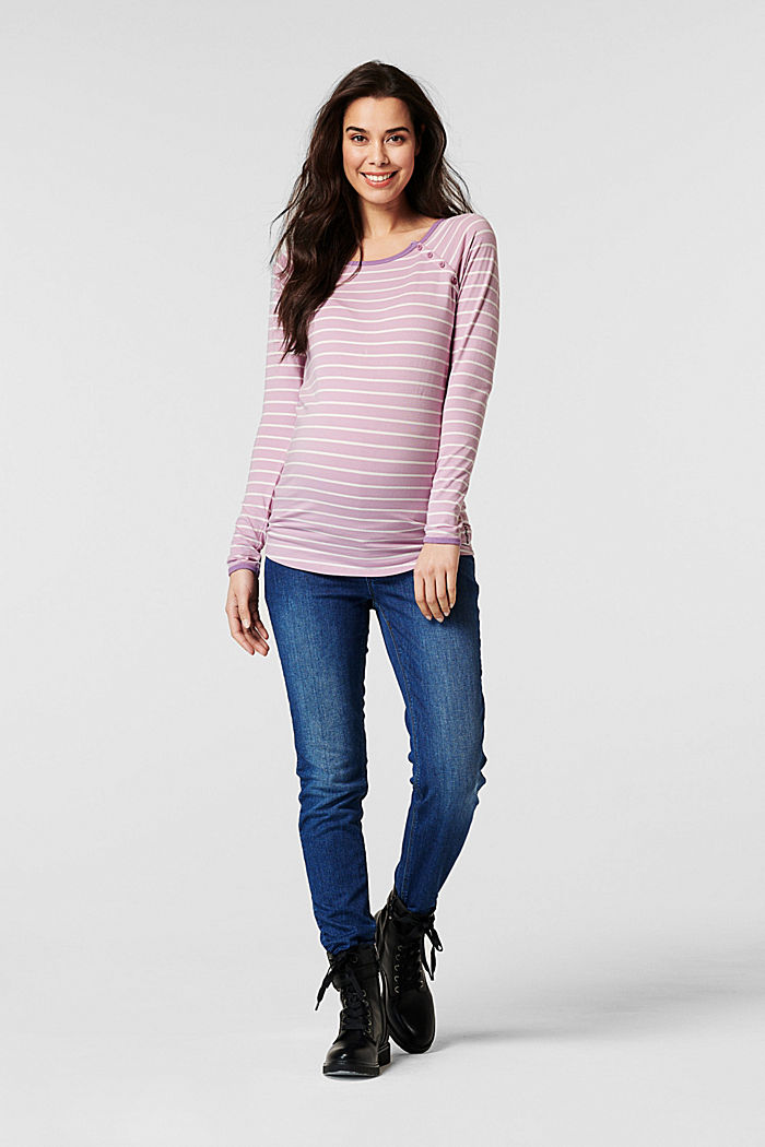Nursing-friendly long sleeve top made of organic cotton, PALE PURPLE, detail image number 0