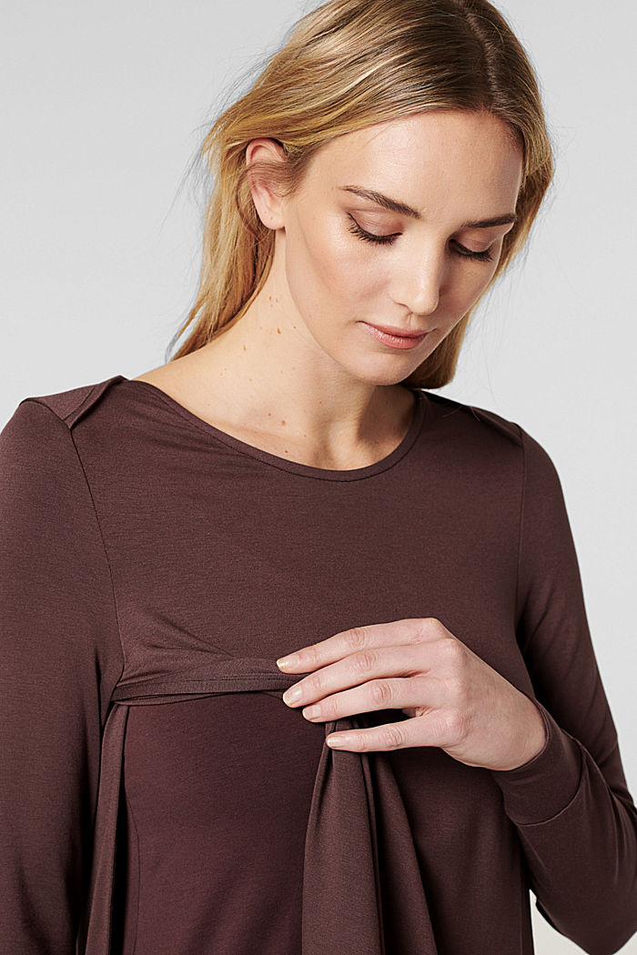 Imetystä helpottava paita LENZING™ ECOVERO™ -materiaalia, COFFEE, detail image number 2