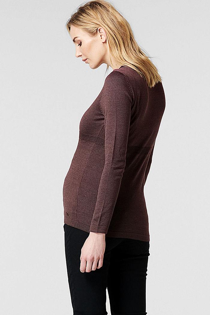 Fijngebreide trui met biologisch katoen, COFFEE, detail image number 1
