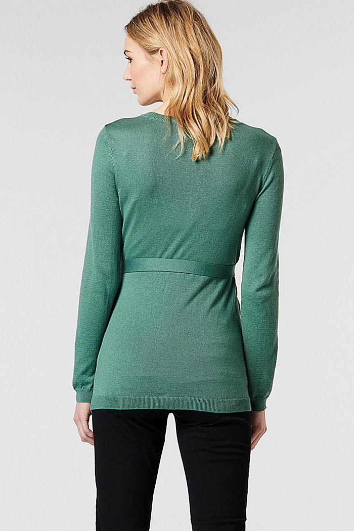 Feinstrick-Pullover mit Bio-Baumwolle, TEAL GREEN, detail image number 1