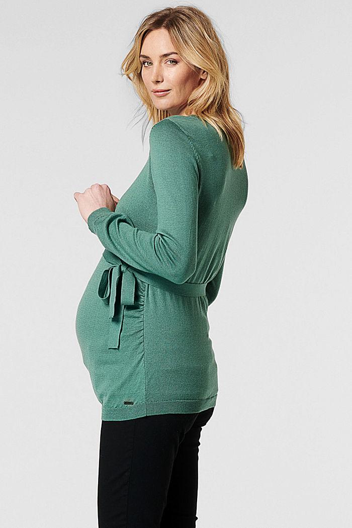 Feinstrick-Pullover mit Bio-Baumwolle, TEAL GREEN, detail image number 3