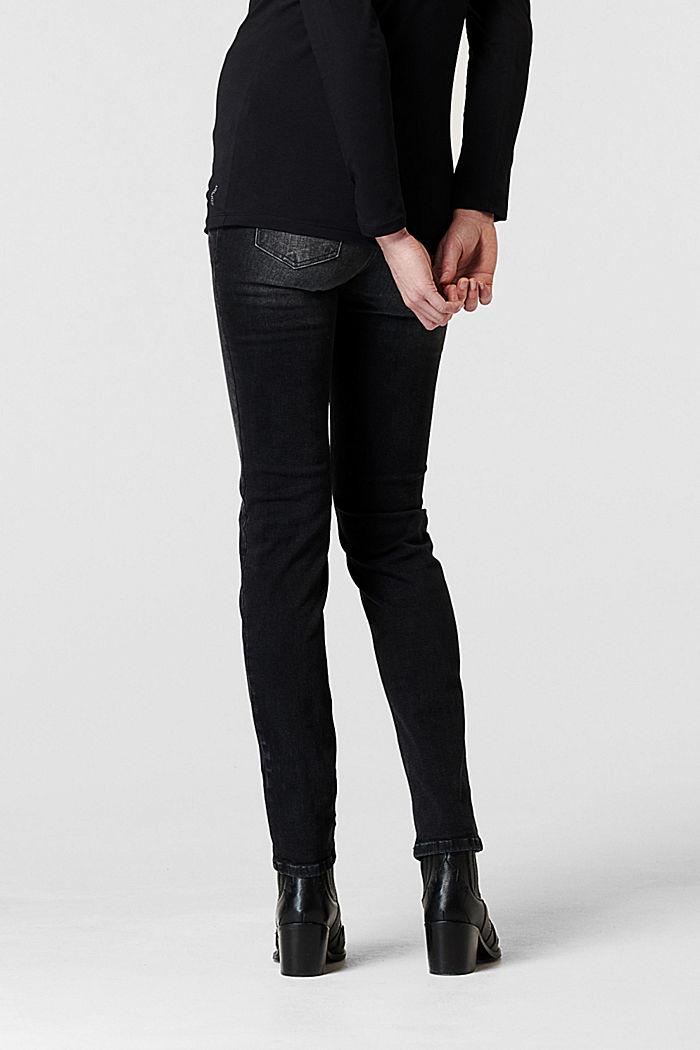 Jean stretch à ceinture de maintien, coton biologique, GREY DENIM, detail image number 1