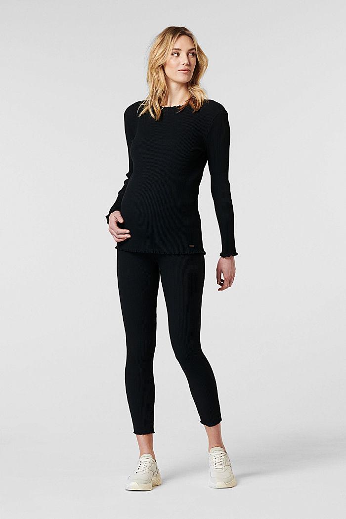 Leggings mit Unterbauchbund, Organic Cotton, BLACK, detail image number 0