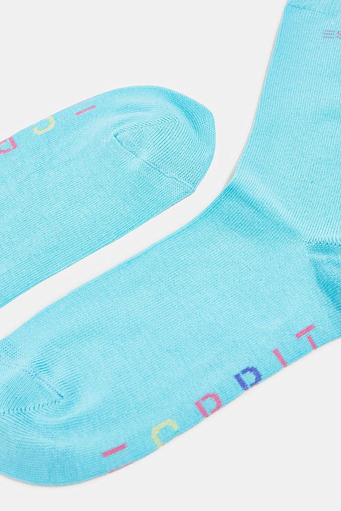 2er-Pack Socken mit Logo-Intarsie, TURQUOISE, detail image number 1