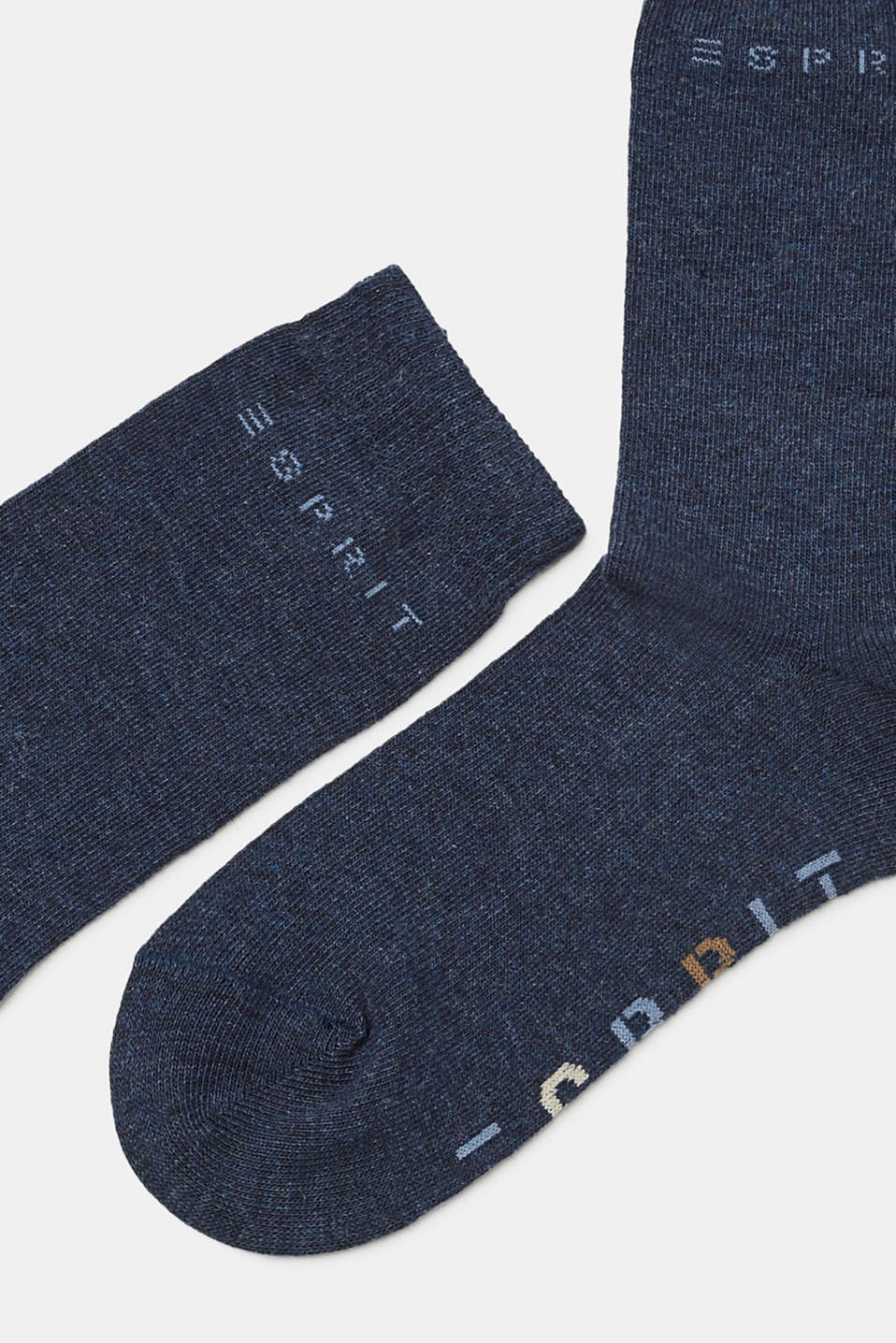 Double pack of socks with logo intarsia, PETROL BLUE, detail image number 1