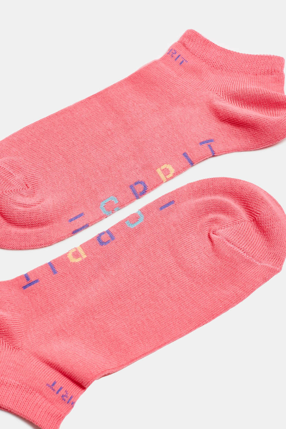 Double pack of trainer socks with logos, FUCHSIA, detail image number 1