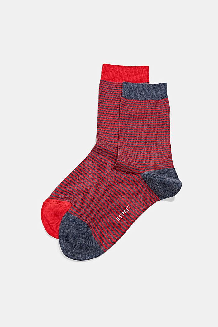 Pakke med 2 par sokker i økologisk bomuldsblanding, RED/NAVY, detail image number 0