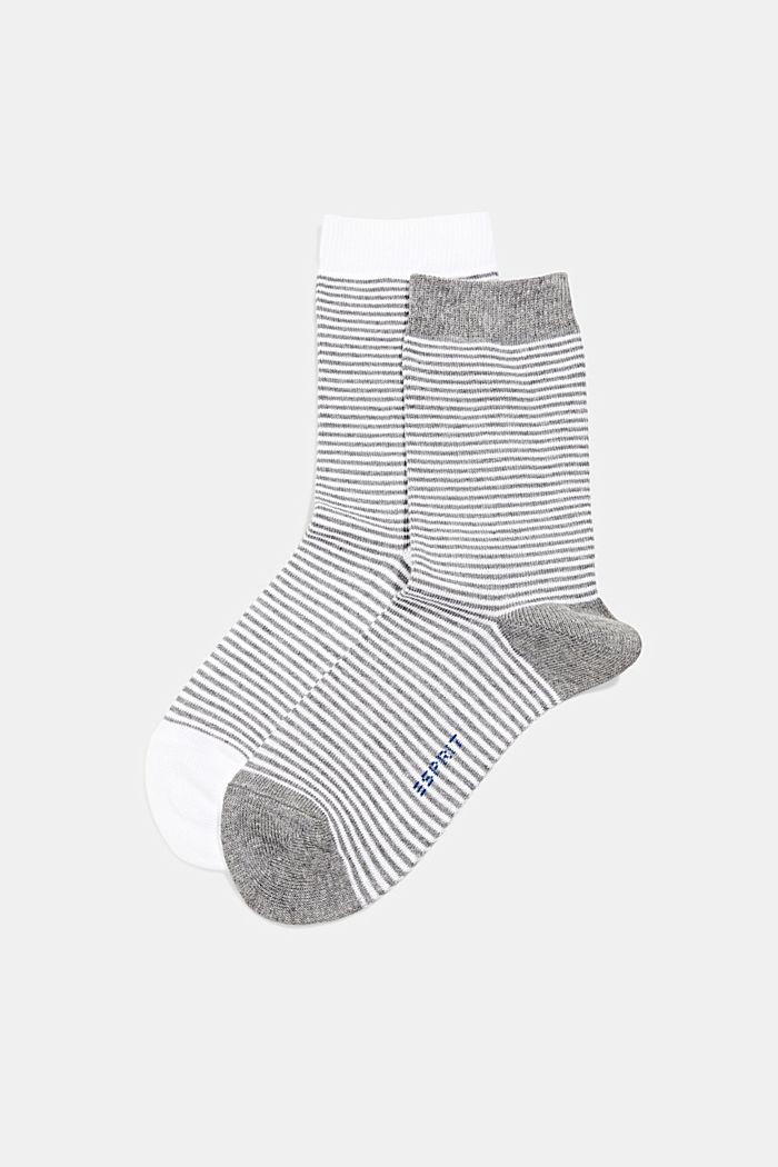 2er Pack Socken aus Bio-Baumwoll-Mix, WHITE/GREY, detail image number 0