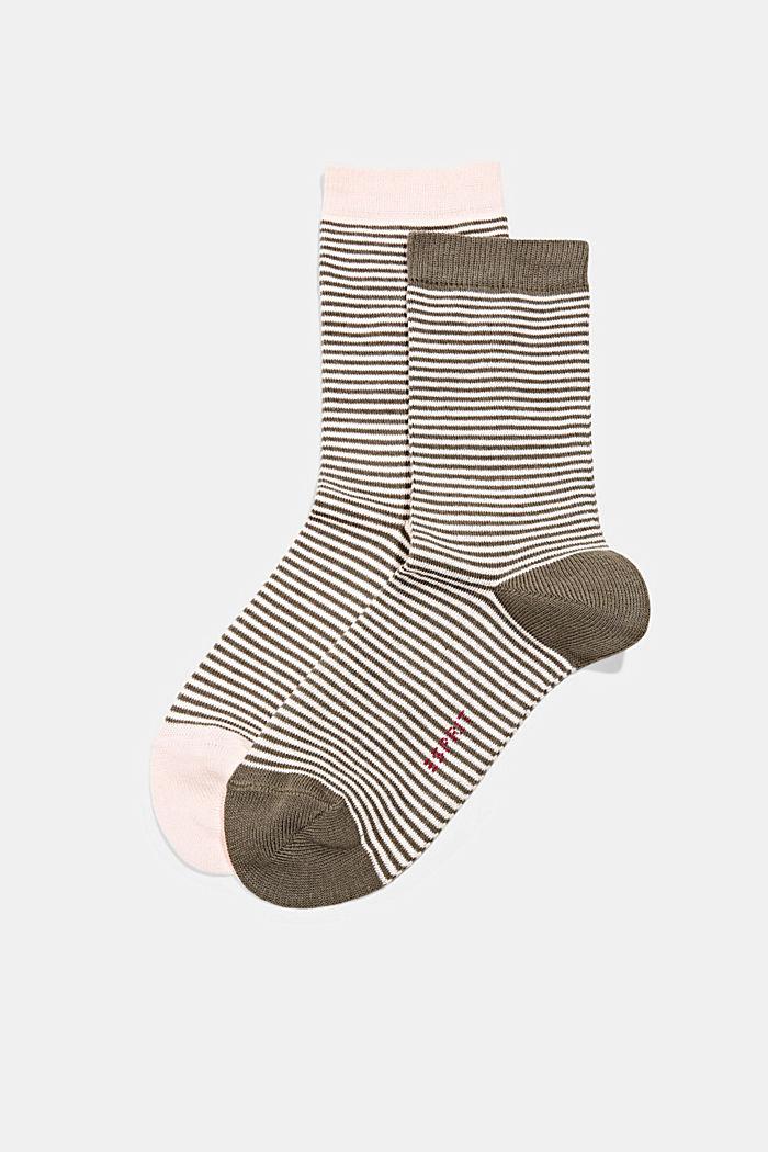 Set van twee paar sokken van een mix met biologisch katoen, ROSE/KHAKI, detail image number 0