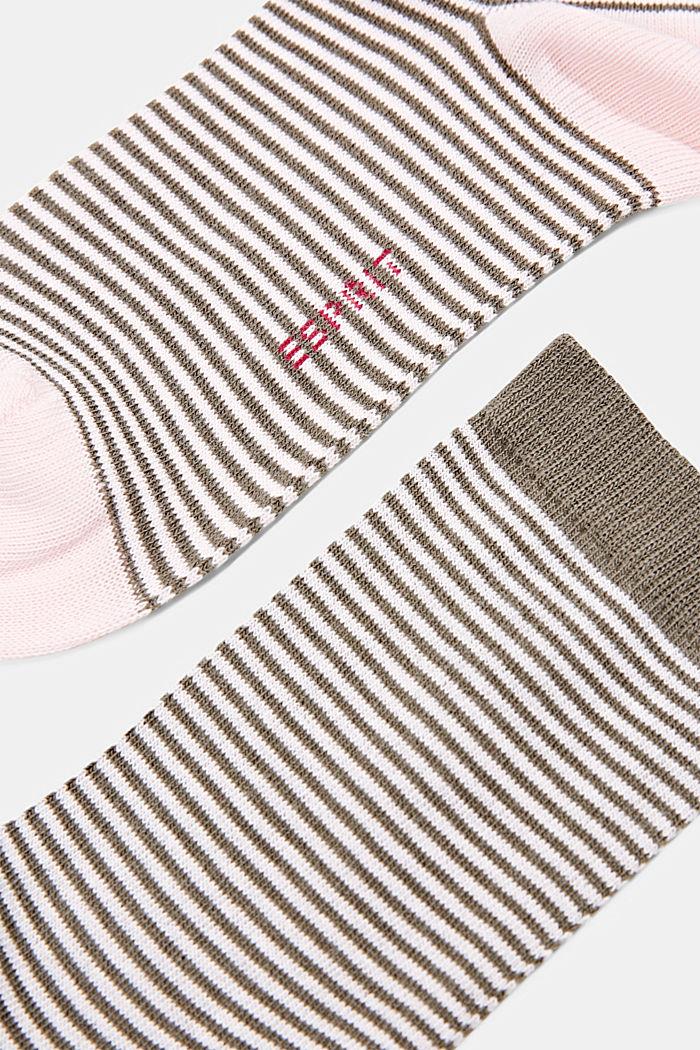 Set van twee paar sokken van een mix met biologisch katoen, ROSE/KHAKI, detail image number 1