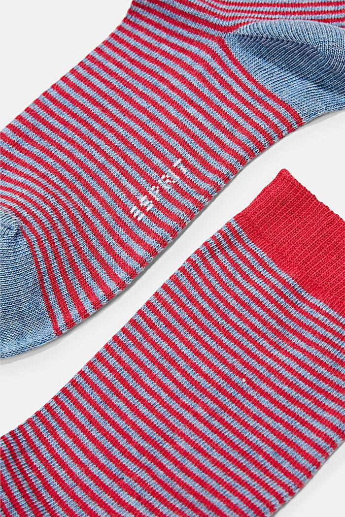 2 paria luomupuuvillasekoitteesta valmistettuja sukkia, BLUE/RED, detail image number 1