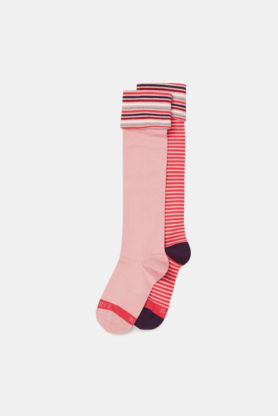 Esprit - In a pack of two: Knee-high socks with colourful stripes