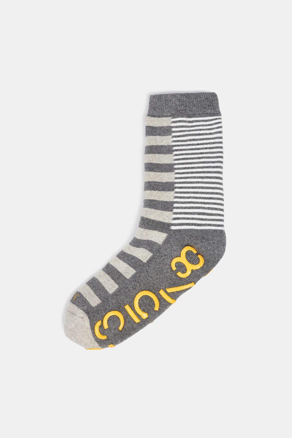 Non-slip socks, LIGHT GREY MELANGE, detail image number 0