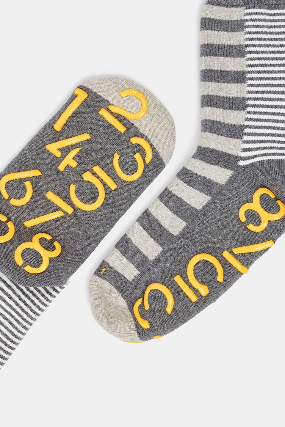 Non-slip socks, LIGHT GREY MELANGE, detail image number 1