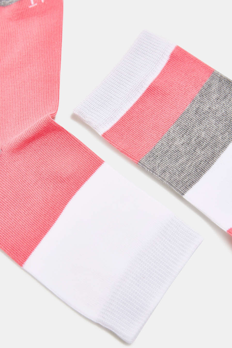 Double pack of socks with block stripes, WHITE, detail image number 1