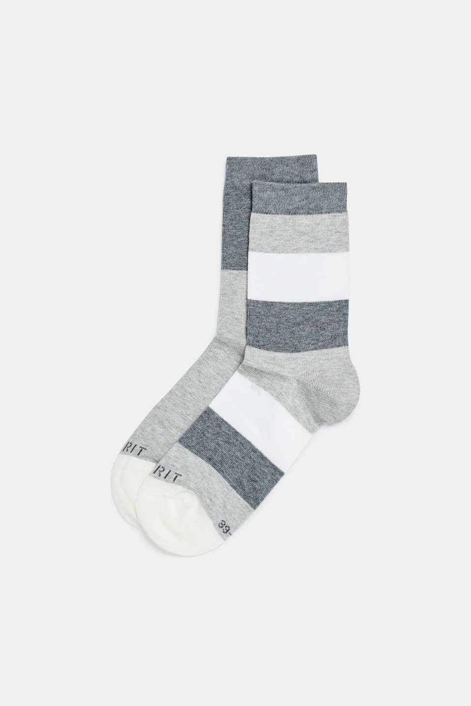 Double pack of socks with block stripes, STORM GREY, detail image number 0