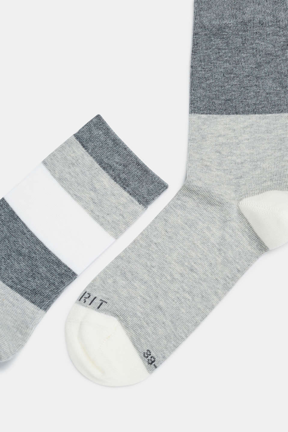 Double pack of socks with block stripes, STORM GREY, detail image number 1