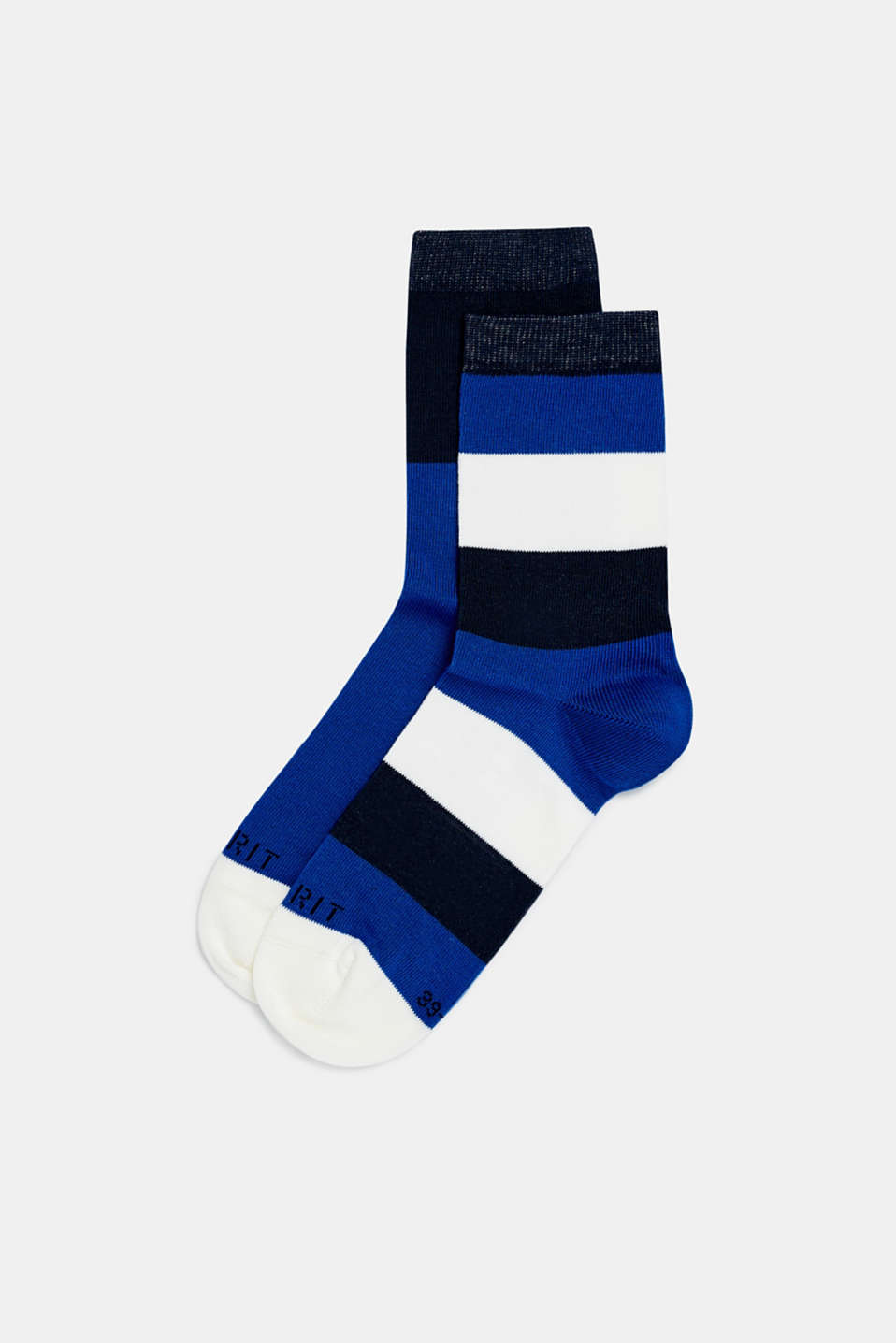 Double pack of socks with block stripes, DEEP BLUE, detail image number 0