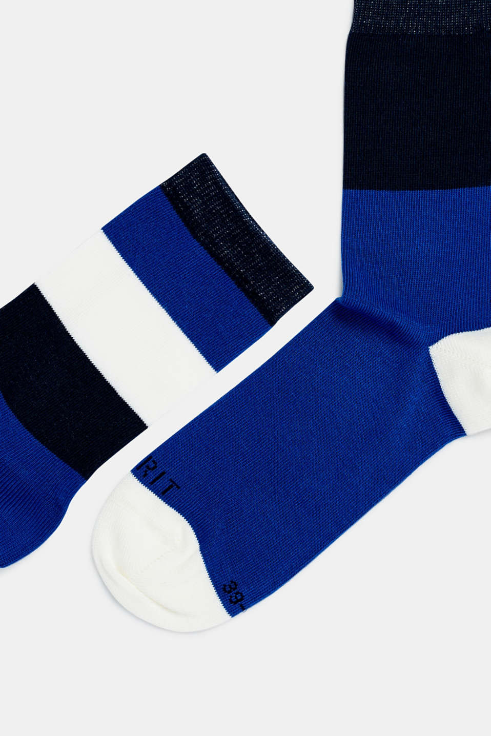 Double pack of socks with block stripes, DEEP BLUE, detail image number 1