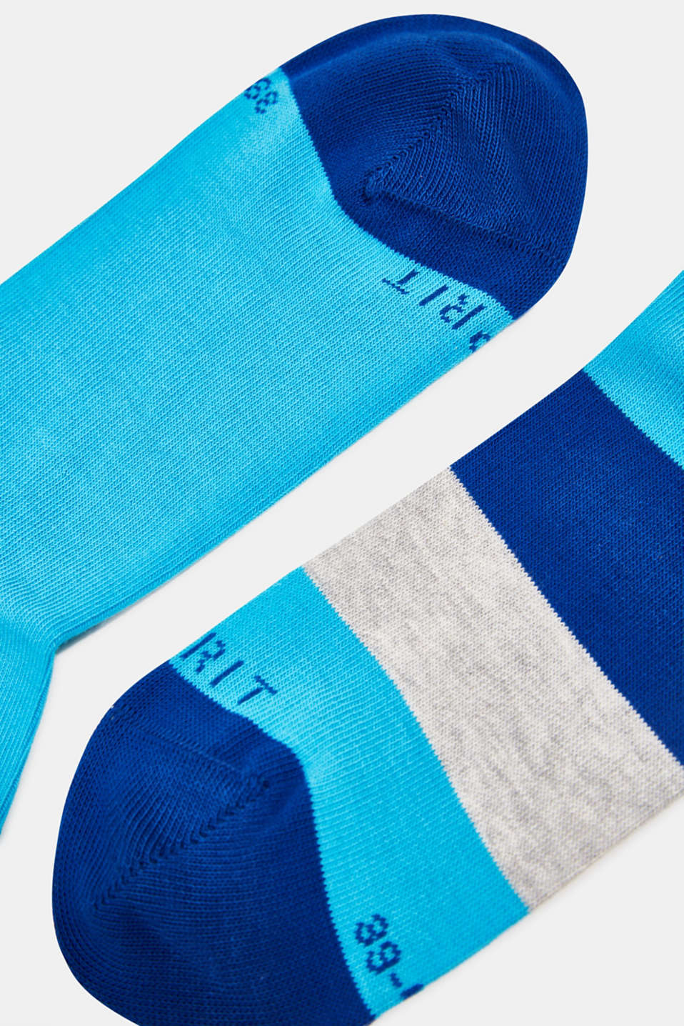 Double pack of socks with block stripes, TUERKIS, detail image number 1