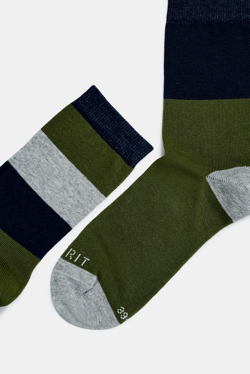 Double pack of socks with block stripes, DARK MOSS, detail image number 1