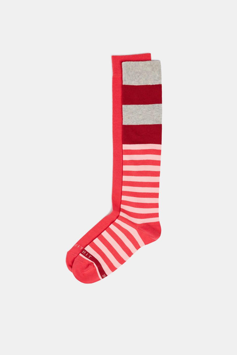 2-pack of striped knee-high socks, PINK, detail image number 0