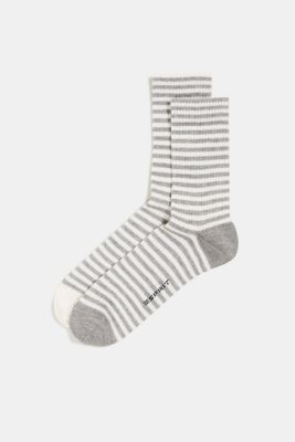 Double pack of socks with a striped look, LIGHT GREY, detail