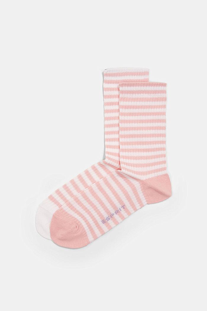 Set van 2 paar sokken in een strepenlook, FLAMINGO, detail image number 2