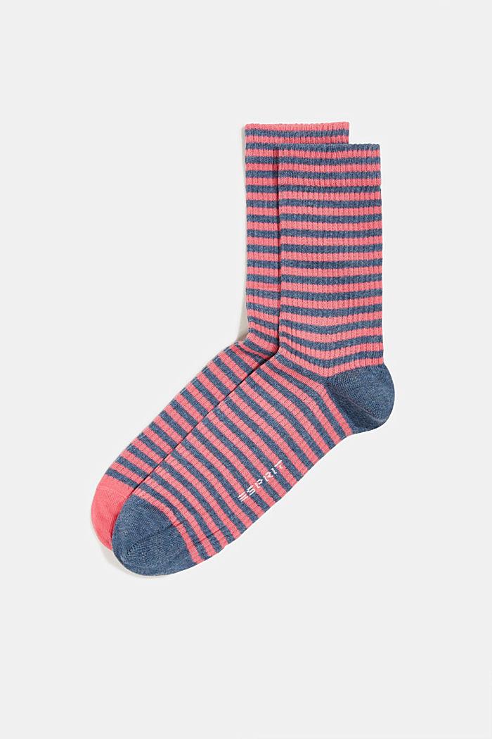 2er-Pack Socken im Streifen-Look, FUCHSIA, detail image number 0