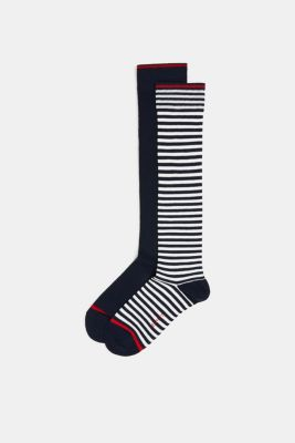 Double pack of knee-high socks in a striped look, MARINE, detail