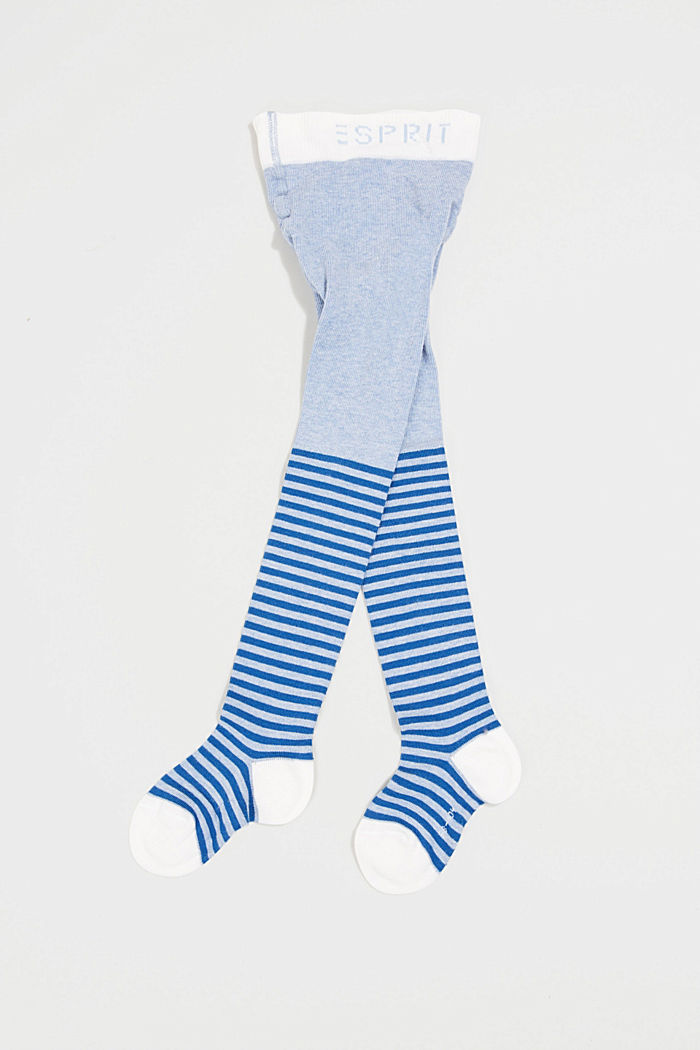 Fine stockings with stripes, made of blended cotton, JEANS, detail image number 0
