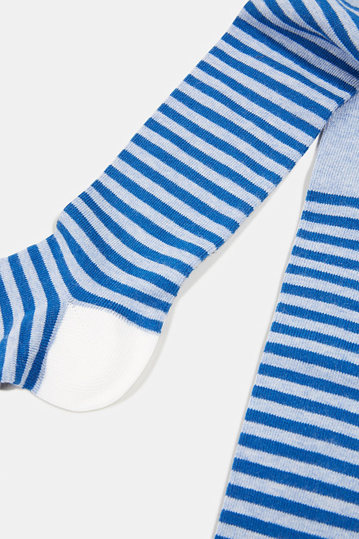 Fine stockings with stripes, made of blended cotton, JEANS, detail image number 1