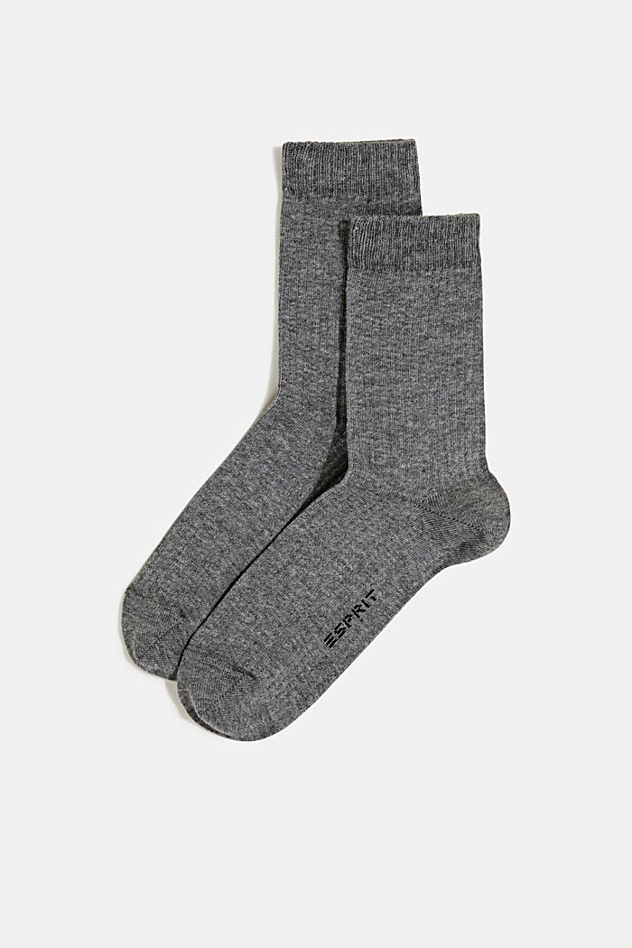 2er-Pack Socken mit Ripp-Struktur, LIGHT GREY MELANGE, detail image number 0