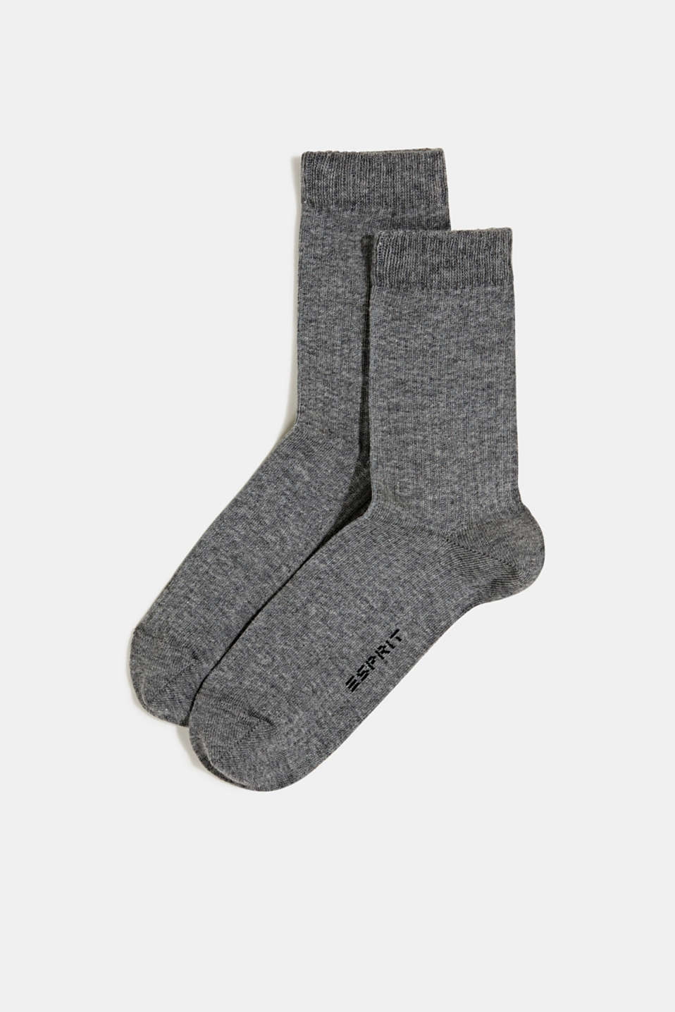 Double pack of socks with a ribbed texture, LIGHT GREYMEL, detail image number 0