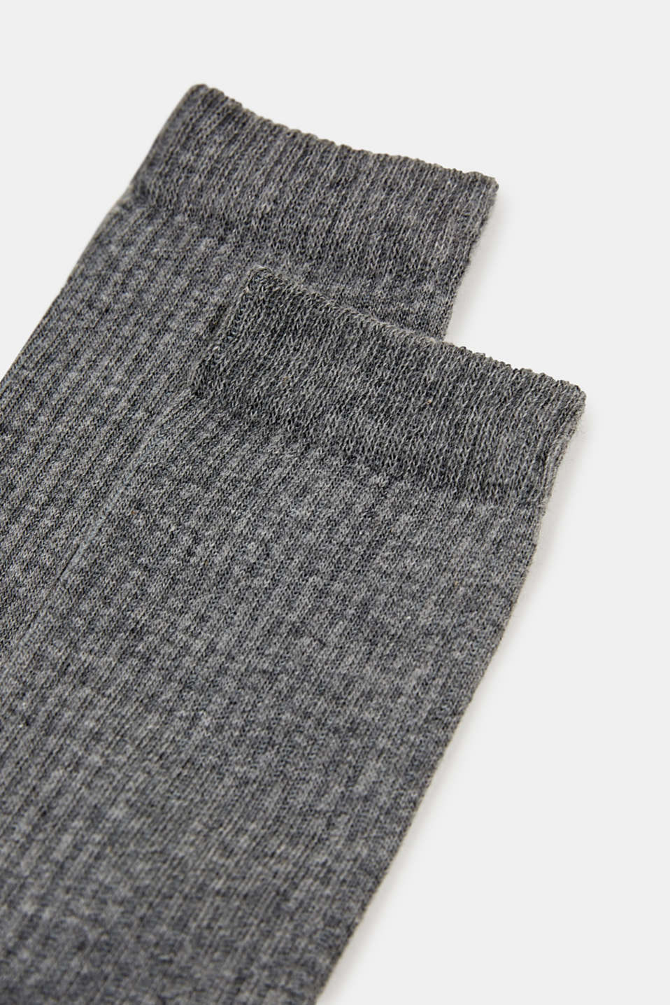 Double pack of socks with a ribbed texture, LIGHT GREYMEL, detail image number 1