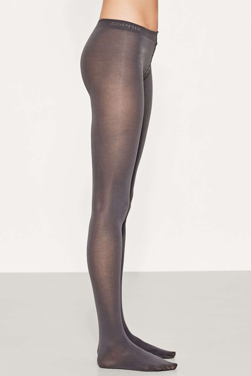 Tights in blended cotton with added stretch, STONE GREY, detail image number 1