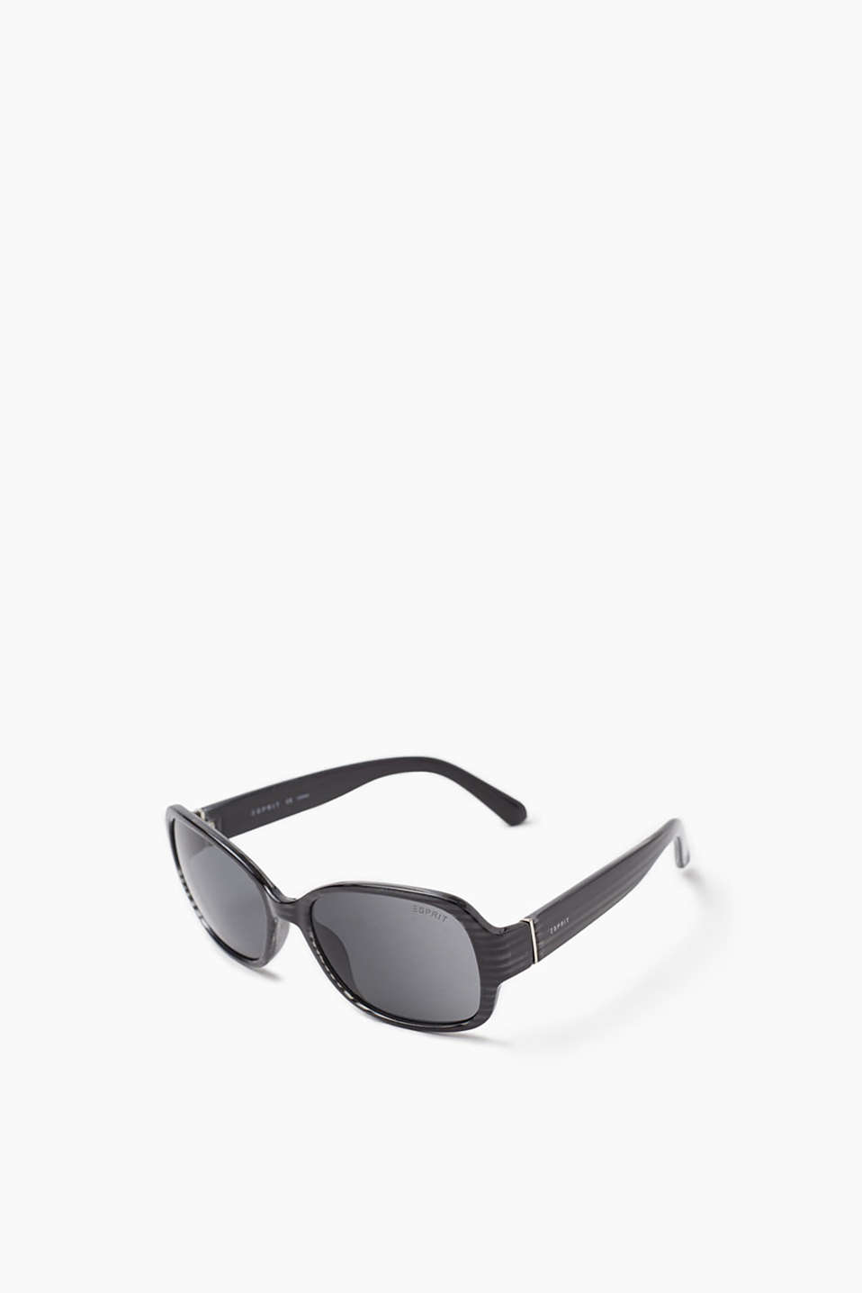 Rectangular sunglasses with rounded corners, in plastic