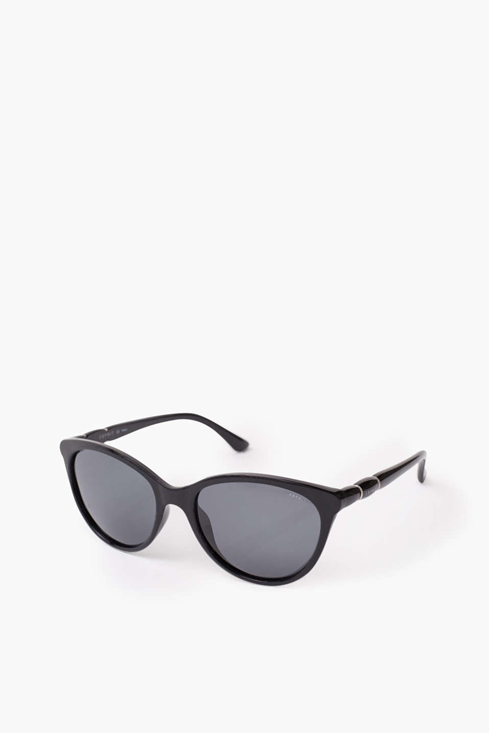 Sunglasses in a subtle cat-eye design with decorative metal rings on the temples