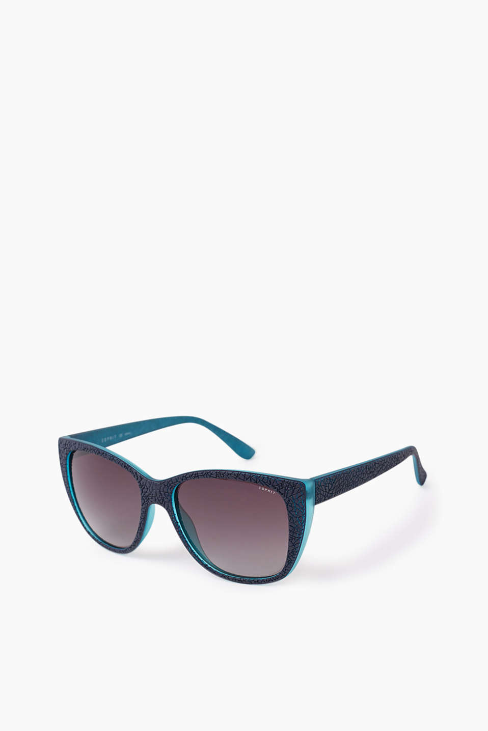 Two-tone plastic sunglasses with embossing