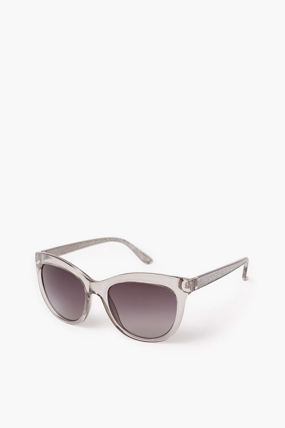 Cat eye style plastic sunglasses with glitter details on the temples